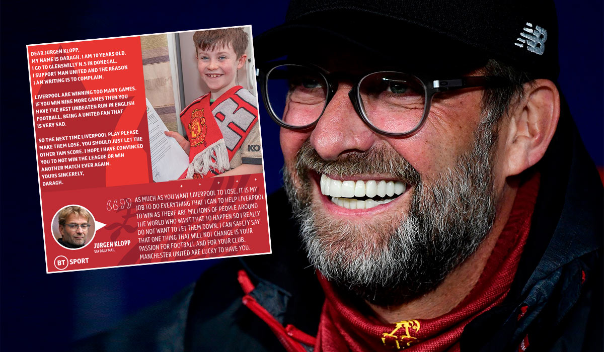 Klopp with a response to a young United fan